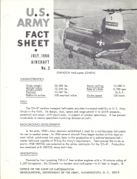 1966 U.S. Army Chinook helicopter Fact Sheet.