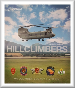 "B Company - ""Hillclimbers"", 3rd General support Aviation Battalin, 25th Infantry Division, F model Fielding Poster, 2011."