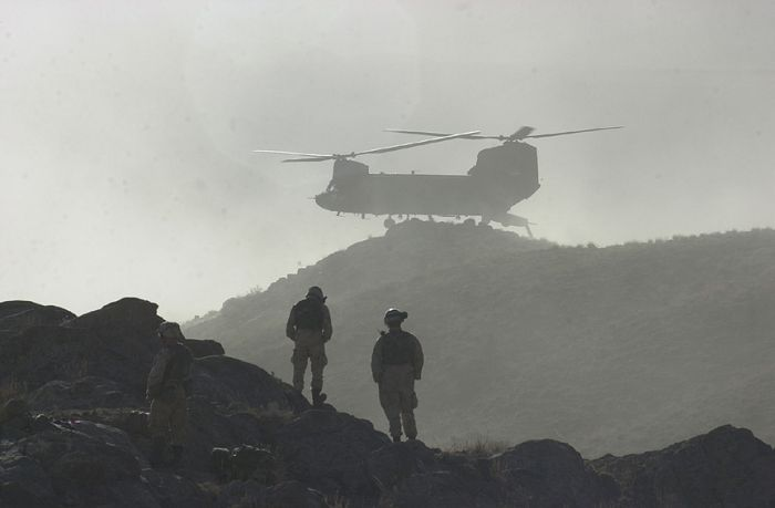 "B Company - ""Hercules"", 159th Aviation Regiment, CH-47D Chinook in Afghanistan, circa 2002."