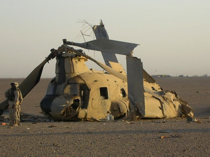 87-00102 - A CH-47D down in Iraq.