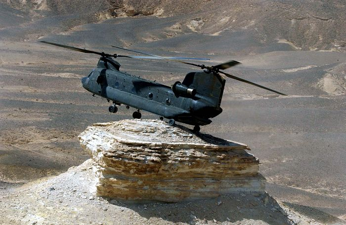 Australian CH-47D Chinook A15-106 conducting pinnacle operations in the Middle East Theater.